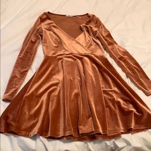 Burnt orange velvet long sleeve dress